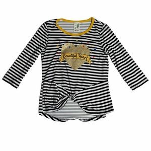Lily Bleu Striped Graphic Top with Twist Tie Front